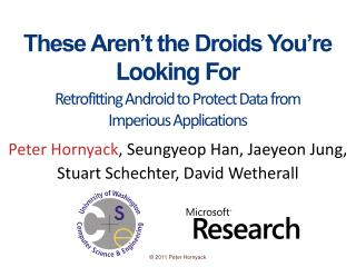 These Aren�t the Droids You�re Looking For