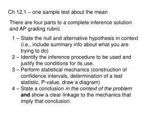 Ch 12.1 – one sample test about the mean