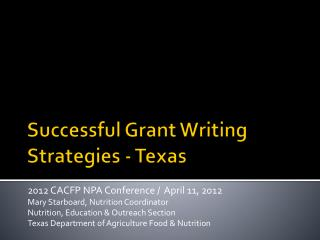 Successful Grant Writing Strategies - Texas