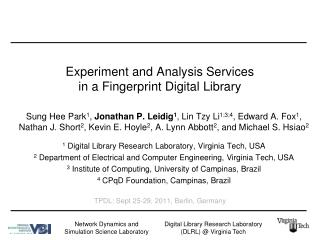 Experiment and Analysis Services  in a Fingerprint Digital Library