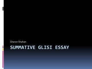 Summative GLISI Essay