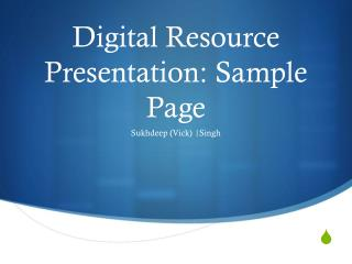 Digital Resource Presentation: Sample Page