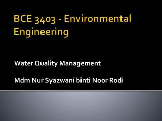 BCE 3403 - Environmental Engineering