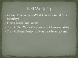 Bell Work #4