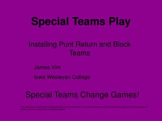Special Teams Play
