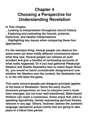 Chapter  4 Choosing  a  Perspective for Understanding Revelation In  This Chapter