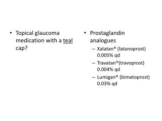 Topical glaucoma  medication with a  teal  cap?