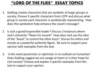 Essay topics for lord of the flies