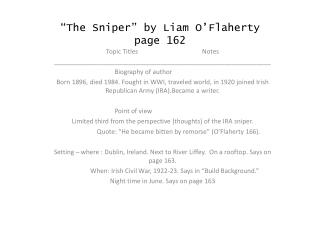 �The Sniper� by Liam O�Flaherty page 162