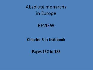 Absolute monarchs  in  Europe REVIEW