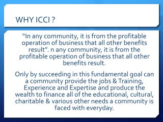 WHY ICCI ?