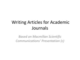 Writing Articles for Academic Journals