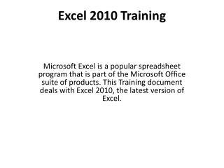 Excel 2010 Training