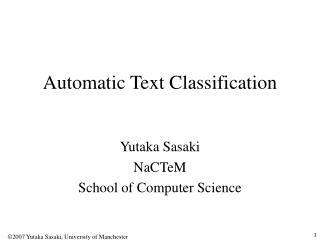 Automatic Text Classification