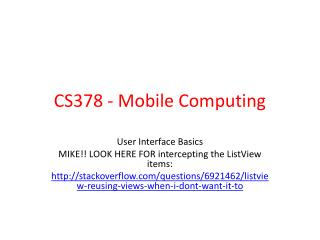 CS378 - Mobile Computing