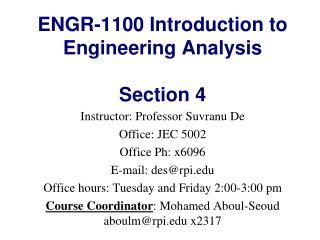 ENGR-1100 Introduction to Engineering Analysis Section  4