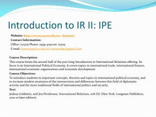 Introduction to IR II: IPE