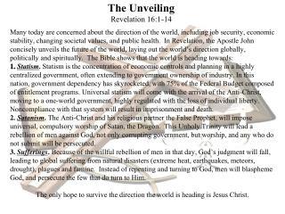The Unveiling Revelation 16:1-14