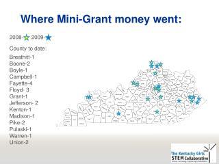 Where  Mini-Grant money went: