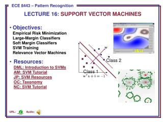 LECTURE  16:  SUPPORT VECTOR MACHINES