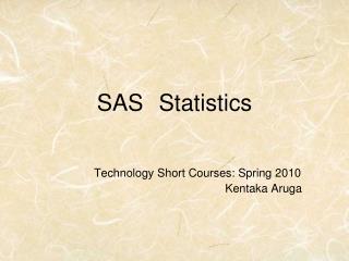 SAS Statistics