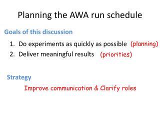 Planning the AWA run schedule