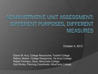 Administrative Unit Assessment: Different Purposes, Different Measures