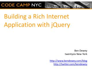 Building a Rich Internet Application with jQuery