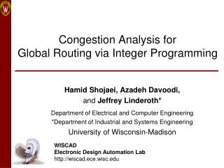 Congestion Analysis for  Global Routing via Integer Programming