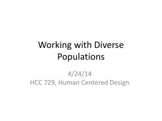 Working with Diverse Populations