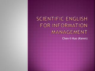 Scientific English for Information Management