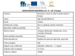 IDENTIFIKÁTOR MATERIÁLU: EU - 6  – 18- V Evropa