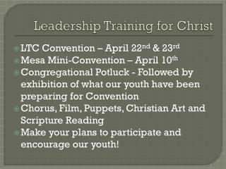 Leadership Training for Christ