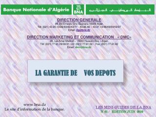 LES MINI-GUIDES DE LA BNA N° 01  /    EDITION JUIN  2010