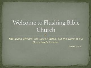Welcome to Flushing Bible Church