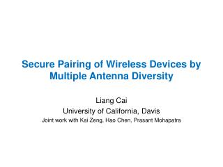 Secure Pairing of Wireless  Devices by Multiple Antenna Diversity