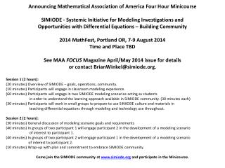 Announcing Mathematical  Association of America  Four Hour Minicourse