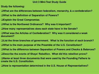 Unit 3  Mini-Test  Study  Guide Study the following :