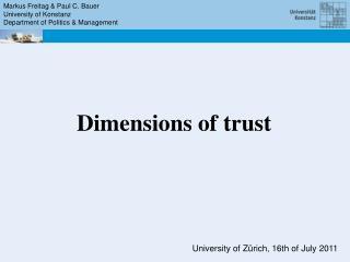 Markus Freitag & Paul C. Bauer University of Konstanz Department of Politics & Management
