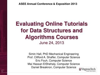 Evaluating Online Tutorials for Data Structures and Algorithms  Courses June 24, 2013