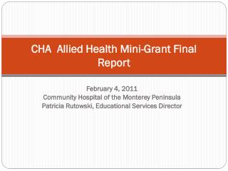 CHA   Allied Health Mini-Grant  Final Report