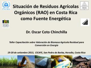 Situación de Residuos Agrícolas Orgánicos (RAO) en Costa Rica como Fuente  E nergética
