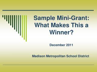 Sample Mini-Grant: What Makes This a Winner? December 2011