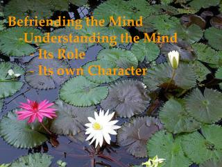 Befriending the Mind Understanding the Mind  Its Role  Its own Character