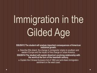 Immigration in the Gilded Age