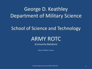 George D. Keathley Department of Military Science  School of Science and Technology
