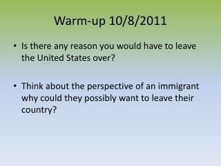 Warm-up 10/8/2011