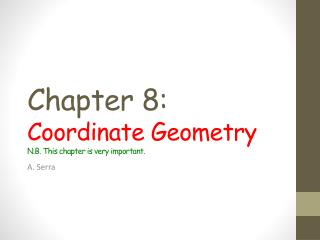 Chapter 8: C oordinate Geometry N.B. This chapter is very important.