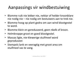 Aanpassings vir windbestuiwing