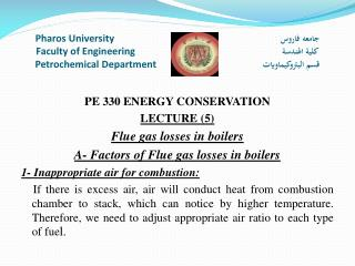 PE 330 ENERGY CONSERVATION LECTURE  (5) Flue gas losses in boilers